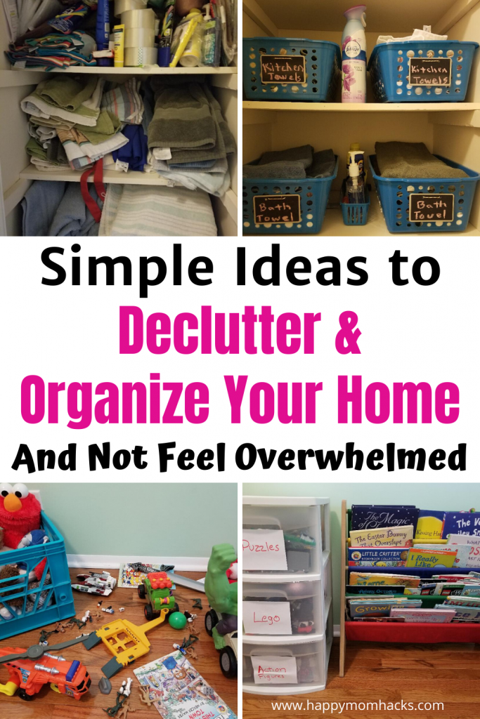 Simple Ideas & Tips to Declutter & Organize your home. 27 Tips to make organizing your house Stress Free. It's easier than you think! Find out how. #decluttering #organizingyourhome #organize #springcleaning #organizationtips #organizationhacks #declutteringtips