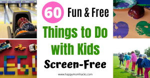 Free Things to Do with Kids at Home on the weekends, summer and rainy days. Find fun indoor and outdoor games that will keep the kids busy & happy and off electronics. Best part these kids activities will not cost you a thing! #kidsactivities #thingstodowithkids #freethingstodo #kidsgames #indoorgames #outdoorgames #kids