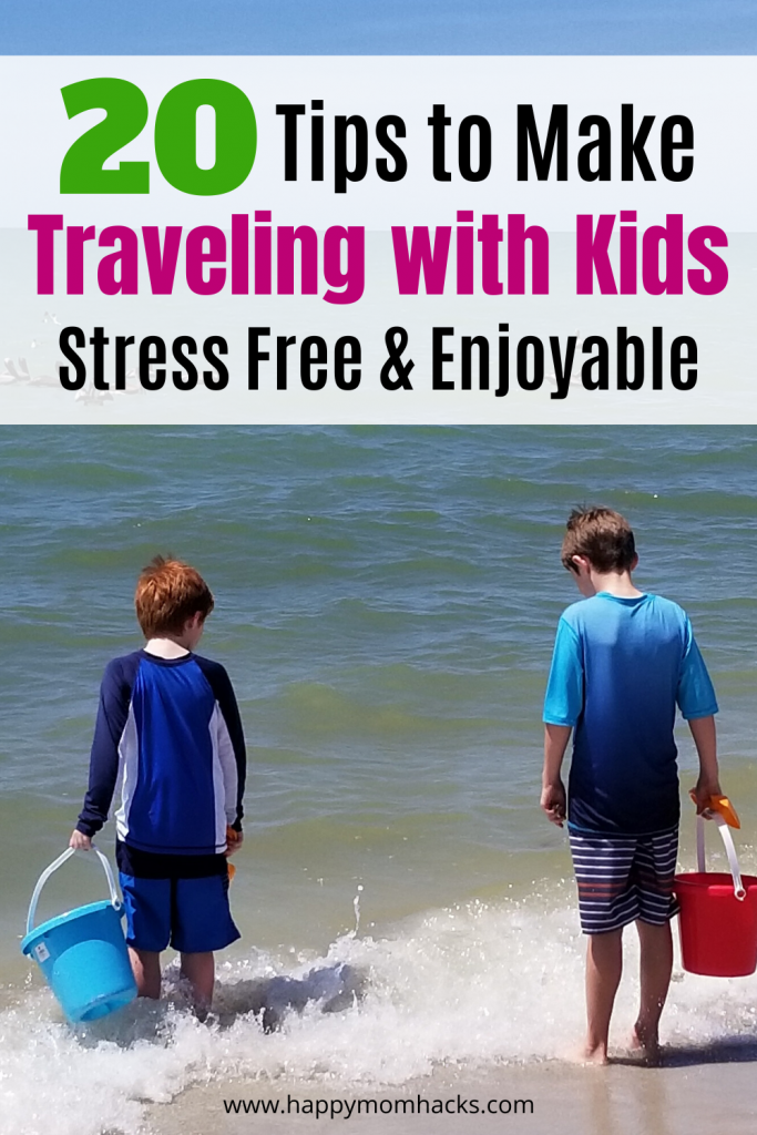 20 Tips for Traveling with Kids on a plane, in a car, packing & more. Get the best Travel Hacks for Families to survive family vacation and road trips. #travelhacks #travelingwithkids #familyvacation #roadtrips