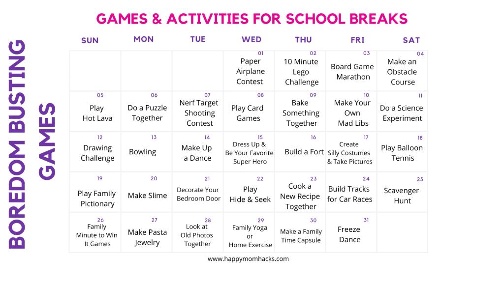 Free Printable Activity Calendar with Fun Indoor Games & Activities for Kids.