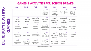 Indoor Games for Kids Free Printable Kids Activity Calendar