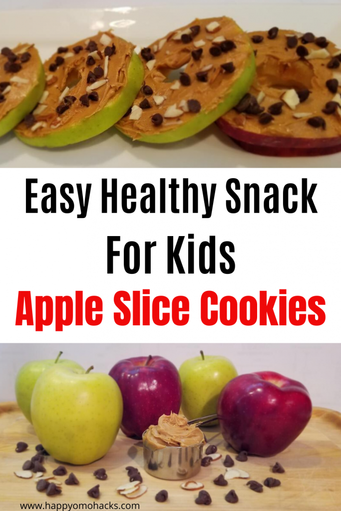 Easy Healthy Snacks for Kids | No Bake Apple Slice Cookies. Kids will love this yummy snack you can make quickly with only apples, peanut butter, chocolate chips and almonds. They'll ask for them over and over again. #healthysnack #easysnacks #snacksforkid #kidssnacks #appleslicecookies #nobakesnack