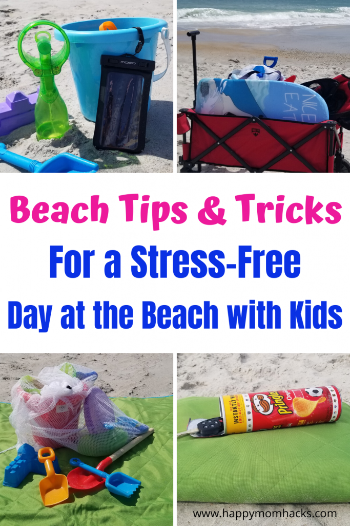 Beach Tips & Tricks and Hacks for Kids. Make it a fun family day at the beach with these simple beach tips from keeping your wallet hidden, phone dry, sand out of your car and more. Make it a memorable and stress free family vacation. #beachtips #beachhacks #familyvacation #travelwithkids #beach