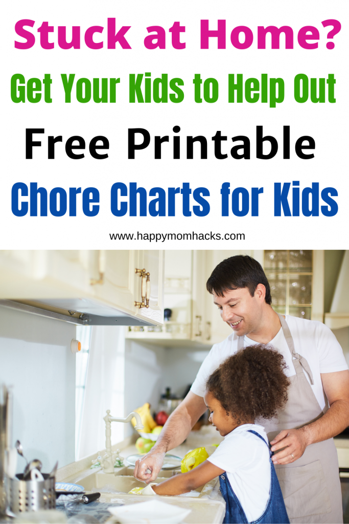 Easy Chore Charts for Kids by Age. Free Printable with chore ideas and an easy chart for kids to follow at home. Use your time off school to start a new family routine. #chorechart #chores #freeprintable #kids