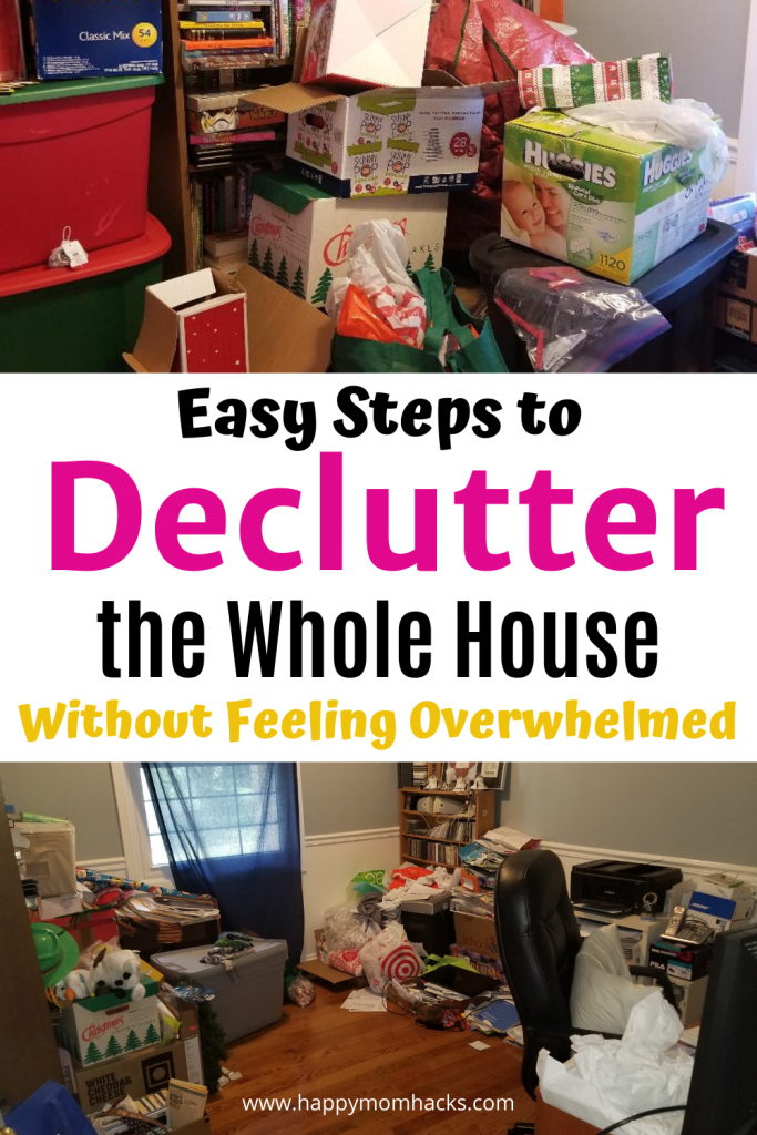 Simple Declutter & Organization Ideas & Tips for Your Home. Feel good about your home again with these easy room by room steps to declutter & get organized. I'll show you how to get it done and not feel overwhelmed. #declutter #organization #organized #organizeyourhome. #householdhack