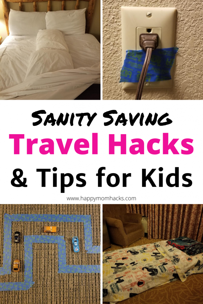 Easy Travel Hacks & Hotel Hacks for Kids. Simple Tips & Tricks for a stress free family vacation. Use these on your next road trip with kids. #travelhacks #hotelhacks #travelwithkids #familyvacation #familytravel