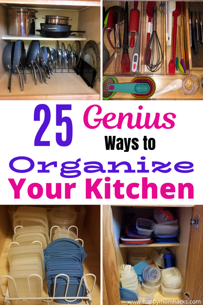 25 Kitchen Organization Ideas & Hacks to declutter you pantry cabinets and drawers. Simple steps that will make a huge difference in how you use your kitchen. #kitchenorganizationideas #kitchenorganization #kitchenhack ##organization #organizationhacks #kitchenpantry #kitchendrawers #kitchencabinets