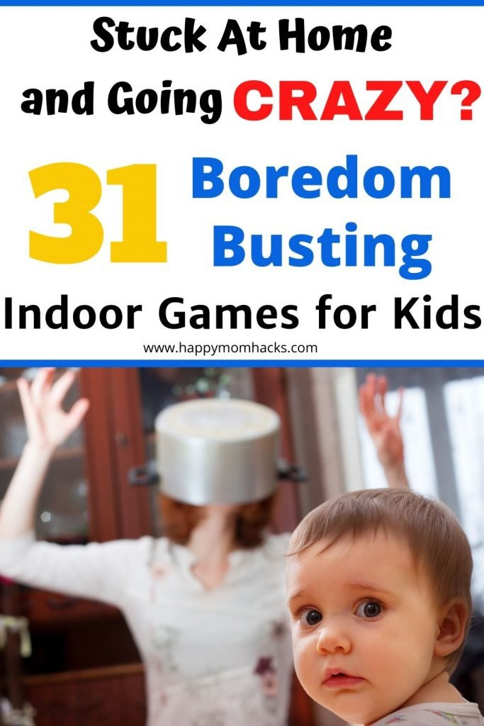 31 Indoor Games for Kids at Home. Free printable Boredom Busting Calendar with 31 days of kids activities to keep them busy and you from going crazy. #indoorgames #kidsactivities #boredombuster #kidsgames #freeprintable