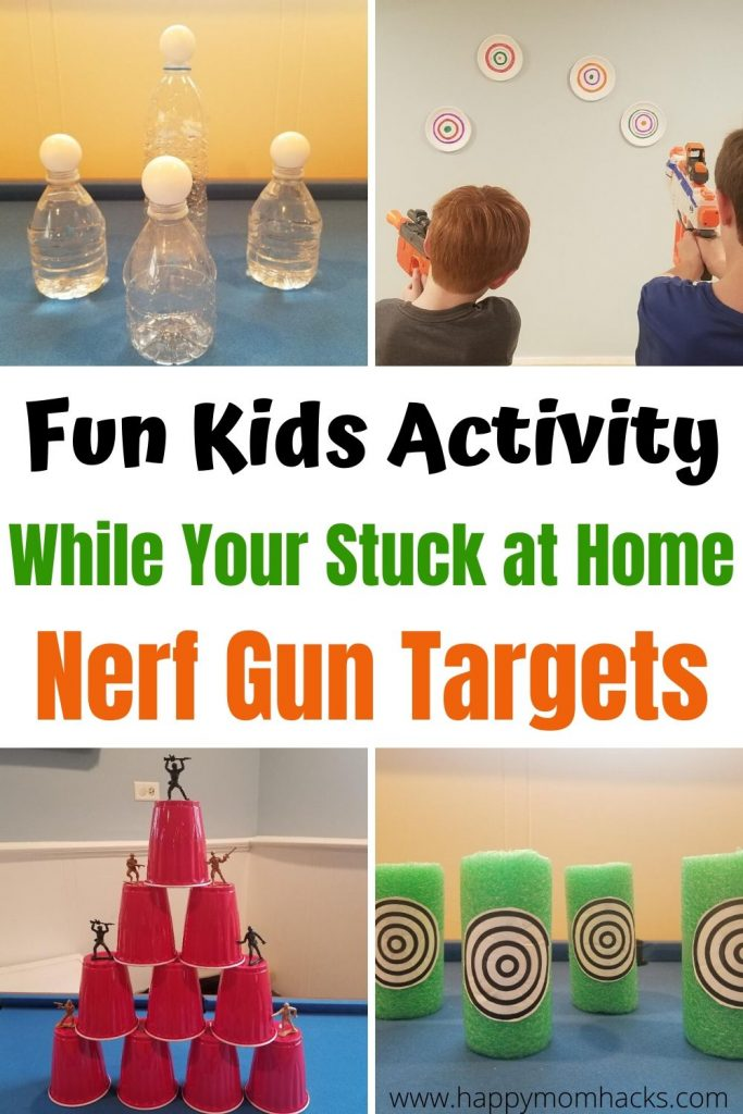 Fun DIY Nerf Gun Targets & Game Ideas. How to make these fun kids activities while your stuck at home for quarantine, rainy day or summer months. Kids will be entertained all day.  Find out how easy they are to make. #nerf #nerftarget #nerfgame #kidsactivity #activityforkids