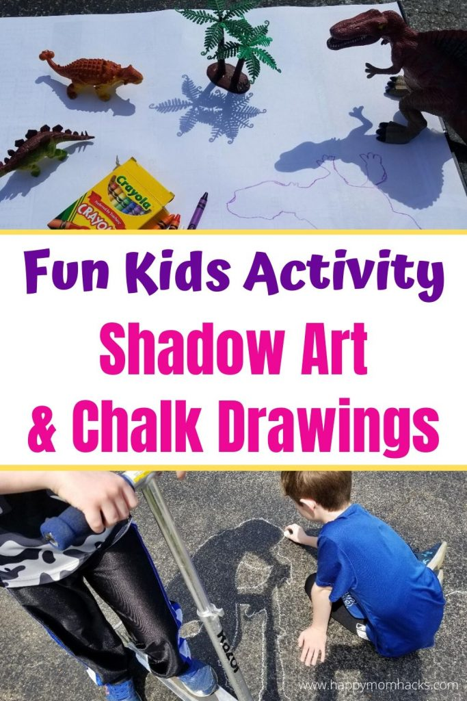 Fun Outdoor Kids Activities - Ideas for Shadow Art & Chalk Drawing. Kids will love the cool drawings they can make with their favorite toys.  Perfect activity when your stuck at home. #kidsactivity #activityforkids #shadowart #chalkdrawings #kidsart