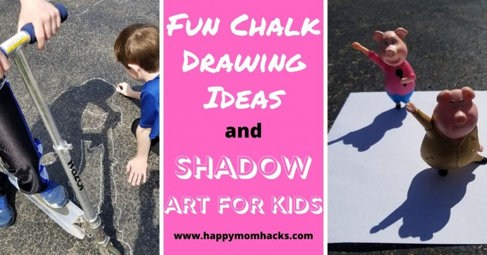 Fun Shadow Art & Chalk Drawing Ideas for kids. A cool outdoor activity using your kids favorite toys silhouette. Enjoy art projects outside on a sunny day. An entertaining kids activity. #shadowart #shadowartideas #chalkdrawings #outdooractivitiesforkids #kidsactivities