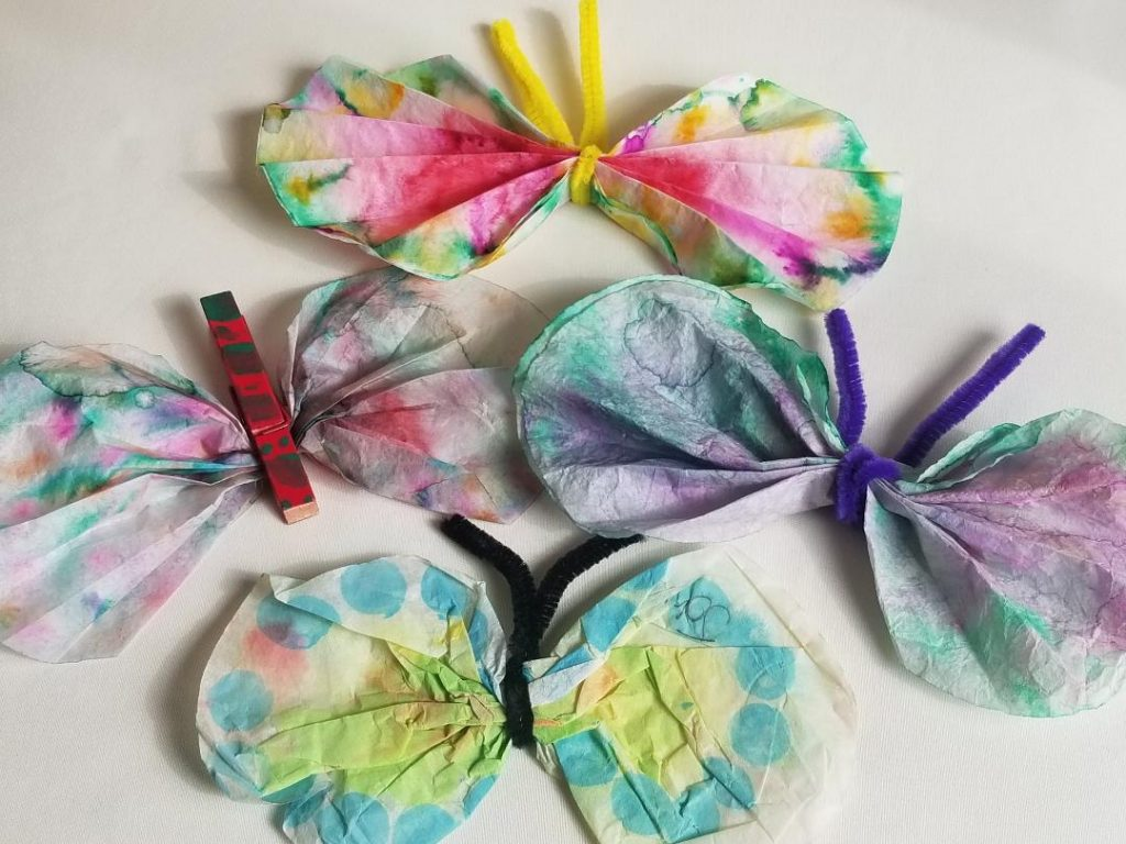 Kids Crafts Idea - Coffee Filter Butterflies activity for home. Easy to make and the kids will love them. #kidsactivity #activityforkids #kidscraftideas #coffeefilter
