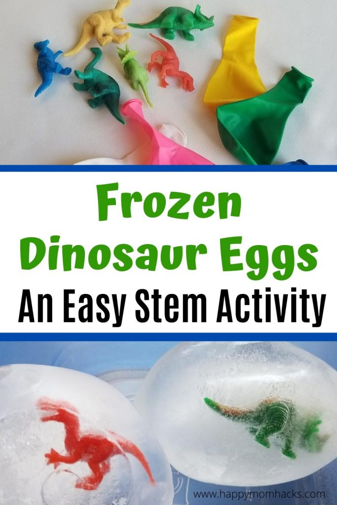 Frozen Dinosaur Egg Stem Activity for Kids to do at home. Kids will love this easy to make science experiment. Let kids use different methods to melt the frozen egg to discover the dinosaur or any small figure you have inside. Find out how easy it is to create. #stemactivity #frozendinosaureggs #dinosaurs #scienceexperiment #scienceactivity
