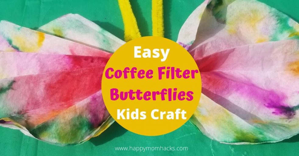 Easy Coffee Filter Butterflies Craft for kids. Make these pretty butterfly crafts with items you have at home. All you need is coffee filters, markers, water and clothespins or pipe cleaners. Then use your imagination to make beautiful butterflies at home. #kidscraft #craftforkids #coffeefilterbutterflies #butterflycraft