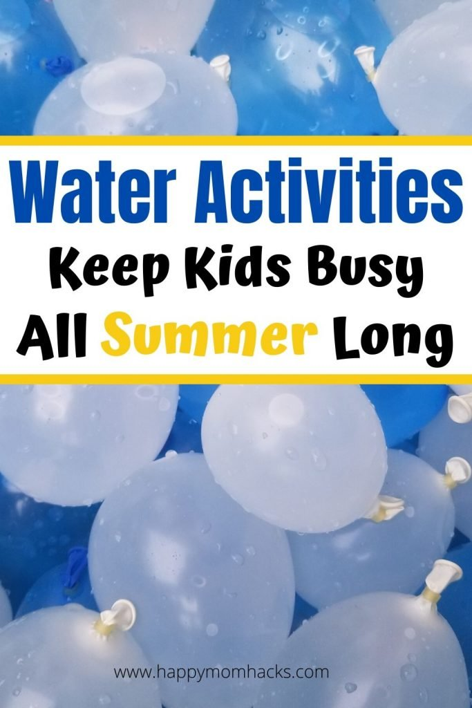 Fun Outdoor Water Activities for Kids to stay busy all Summer long. Cool Water toys kids will love to play with from best water tables, to water balloons, mini water parks, water guns and more. Find out how to make it a  memorable summer at home with the kids.  #watertoys #wateractivities #outdooractivitiesforkids #kidsactivities