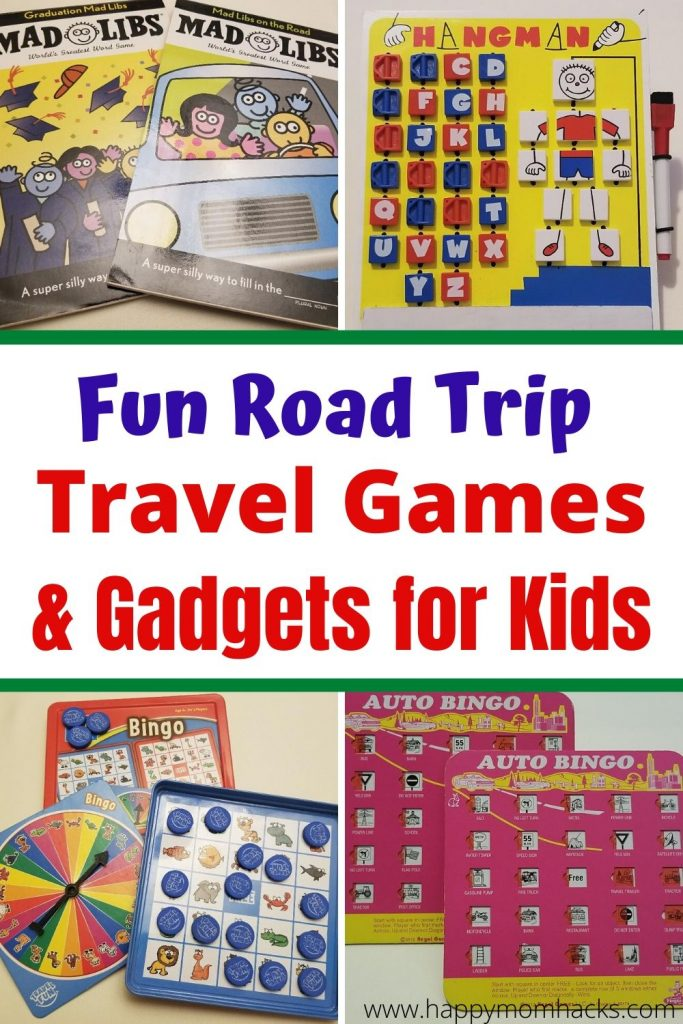 Road Trip Travel Games & Gadgets for Kids. Perfect for family vacation car rides or even airplane rides. Fun kids activities to keep them busy ad happy while you travel. Check out these travel hacks and be ready to travel with kids. #familyvacation #travelhacks #roadtrips #travelgames #travelactivities #travelgadgets #travelwithkids