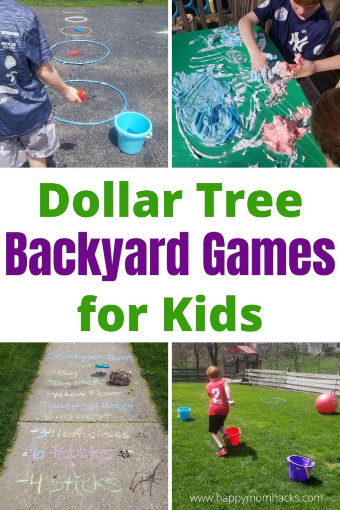 DIY Backyard Games for Kids with Dollar Tree Items. Cool DIY games and kids activities to keep kids entertained all summer long. #gamesforkids #outdoorgames #kidsgames #backyardgames #summer