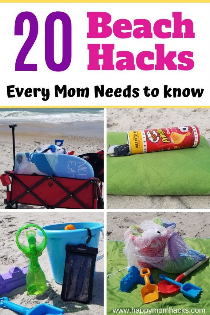 Cool Beach Hacks and Tips & Tricks for Kids. Clever ideas for a stress free day at the beach. They'll change the way your family enjoys a beach day or vacation at the beach. #beachday #beachhacks #beachvaation #beachtipsandtricks