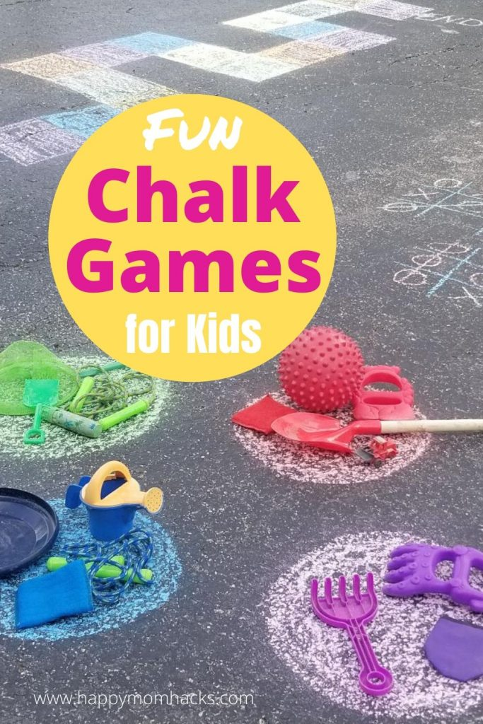 Fun Sidewalk Chalk Games for Kids - 13 outdoor kids activities to play on your sidewalk or driveway. Keep the kids busy all summer long with these easy games they'll love. #chalkgames #sidewalkchalkgames #gamesforkids #kidsactivities