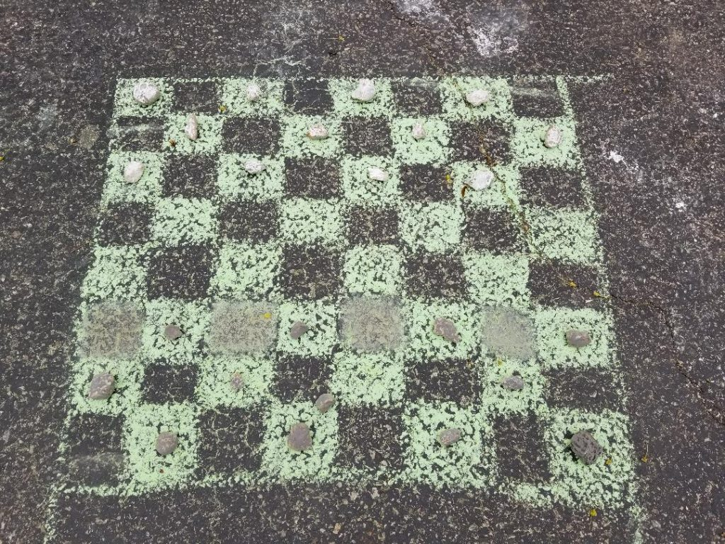 Chalk Checkers Games for kids for sidewalks and driveways.