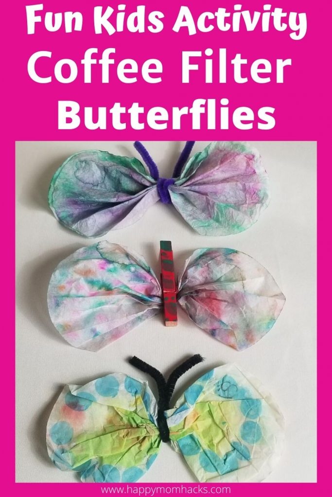 DIY Kids Activity at Home - Coffee Filter Butterflies craft for kids. An indoor or outdoor craft idea. Make these creative butterflies with items you have at home. Kids will take hours designing their butterfly creations. #kidsactivity #activityforkids #kidscrafts #indooractivity #outdooractivity #coffeefilterart