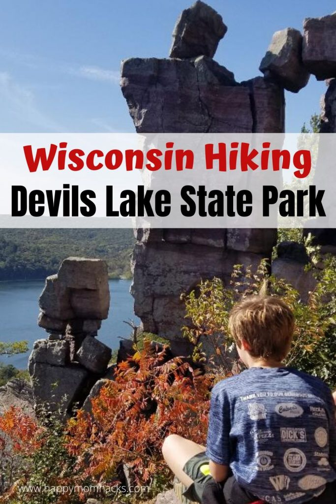 Best Wisconsin Hiking Trail - Devil's Lake State Park. Fun hiking trails for kids  and things to do at the beach and nature center. Find out why your family will love a day at Devil's Lake State Park. #hikingwithkids #wisconsinhikingtrail #devilslakestatepark #hikingtrails