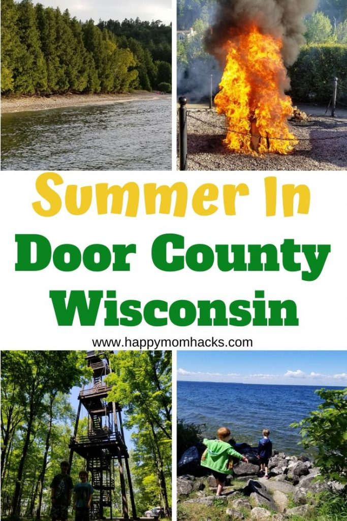 Best Summer Things to Do in Door County Wisconsin with Kids. Use our guide to have an amazing family vacation in Door County. Learn about the best beaches, state parks, restaurants, fish boils, cherry picking and more. Everything you need to know before you go. #doorcountywi #wisconsin #familyvacation #doorcountywithkids #travelwithkids