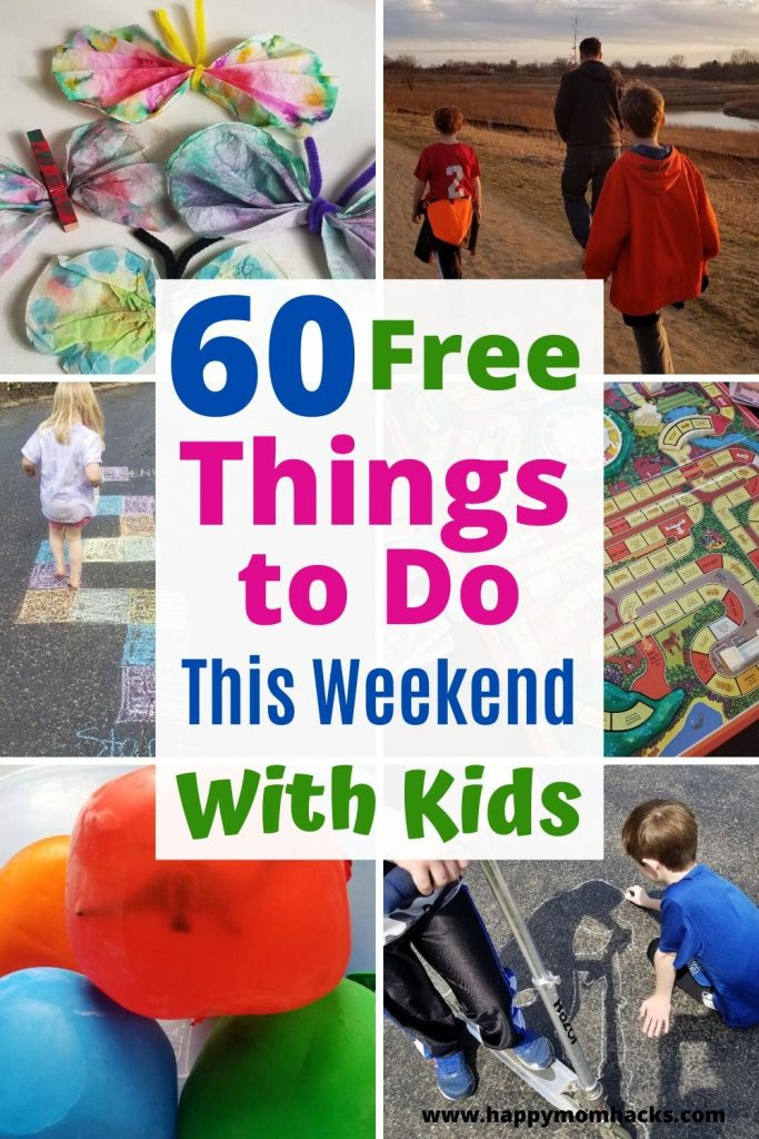 60 Fun & Free Things to Do with Kids Indoors & Outdoors. Summer activities for kids to keep them entertained at home and in your own town. No more hearing I'm bored from the kids! #kidsactivities #thingstodowithkids #activitiesforkids #indooractivities #outdooractivities