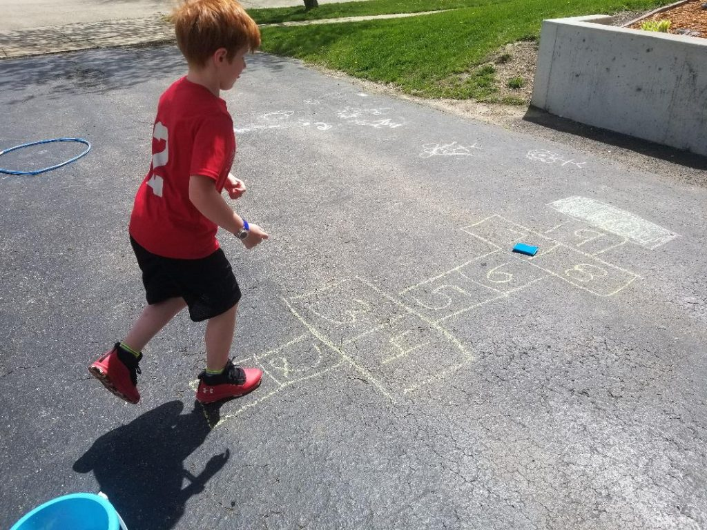 Sidewalk Chalk Hopscotch for Kids
