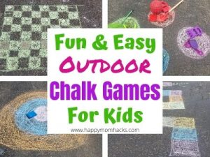 Fun Outdoor Sidewalk Chalk Games for Kids. An easy kids activity for your sidewalk or driveway to keep kids entertained for hours. Keep the kids active outside and off the electronics. #chalkgames #kidsactivities #outdoorgamesforkids #kidsgames #sidewalkchalk