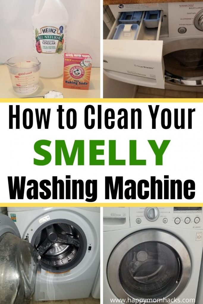 How to Clean a Front Loading Washing Machine in  5 Easy Steps. Get the smell out of your washing machine with bleach, vinegar, baking soda and a clean rag. You'll be amazed what a difference you can make with these quick cleaning tips. #laundry #cleaningtips #frontloadingwashingmachine #washingmachine #cleanwashingmachine