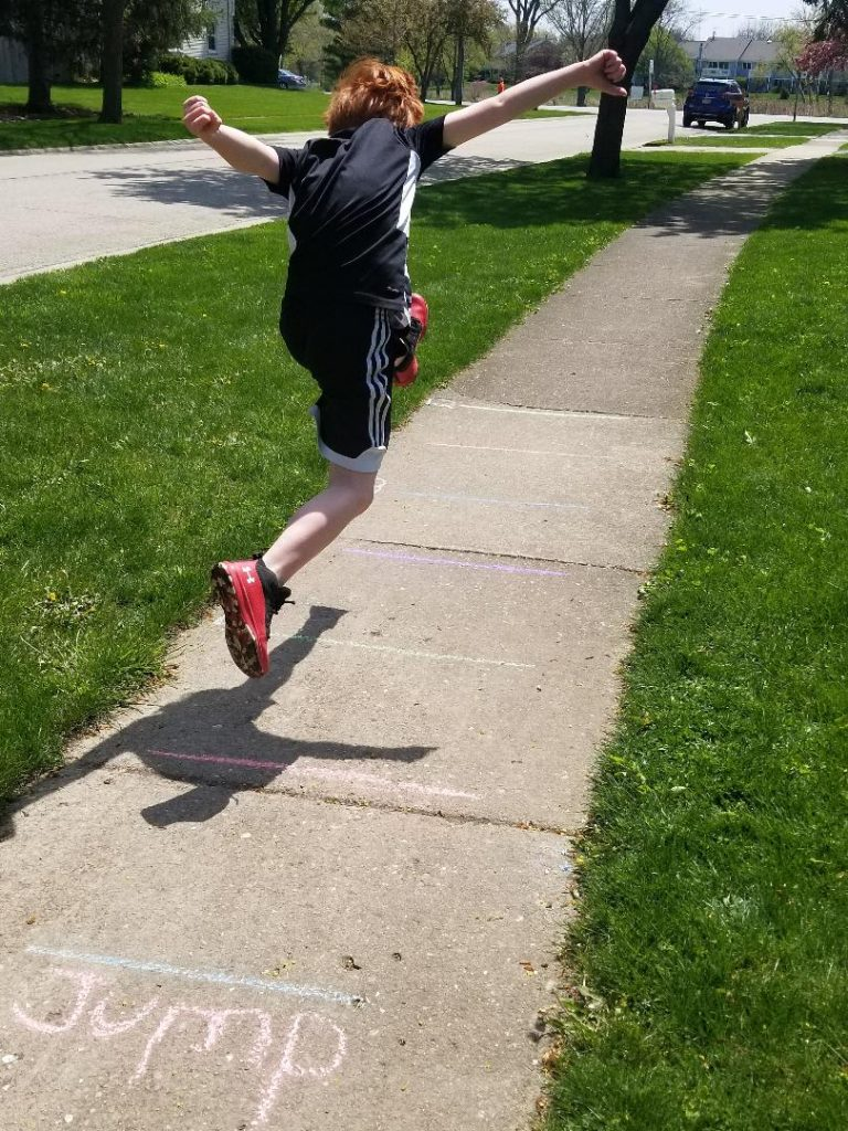 Long Jump with Sidewalk Chalk - Fun outside game for kids.