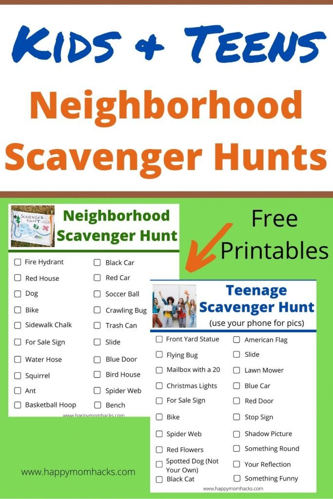 Neighborhood Scavenger Hunts for Kids & Teens with Free Printable. A fun outdoor activity for kids this summer. Get them off the electronics and outside with these fun scavenger hunts even your teenagers will enjoy. #scavengerhunts #outdooractivities #activitiesforkids #teens #kids #kidsactivities