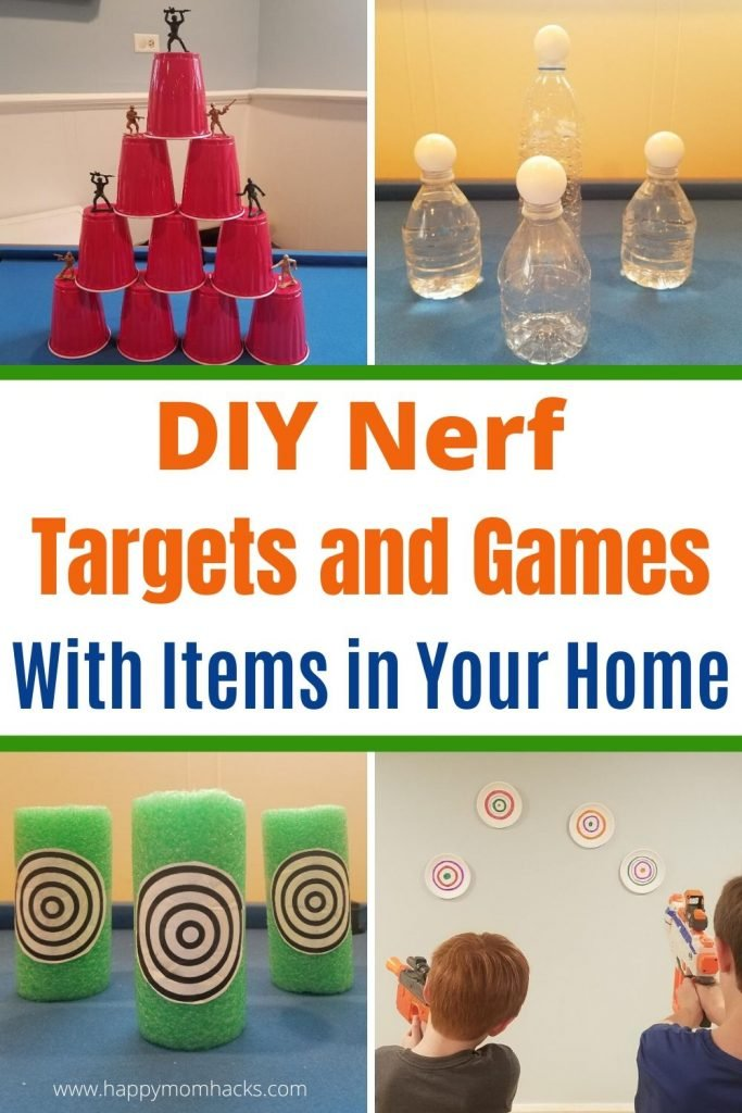 Fun Games for Kids with Nerf Targets & Game Ideas you can make with items at home. Kids will love creating games to play with their Nerf guns indoors and outdoors this summer. If your child loves Nerf Guns and Nerf Wars they are sure to have a blast.  #nerfgames #gamesforkids #kidgames #nerfwars #nerftargets