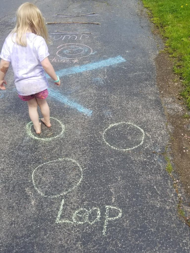 Obstacle Course Game with Sidewalk Chalk