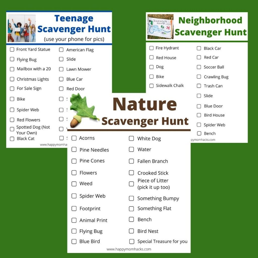 free printable scavenger hunt for kids and Teens - Neighborhood and Nature Scavenger Hunts
