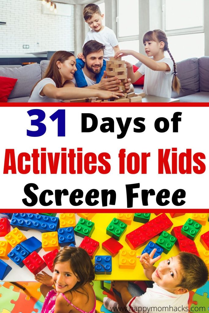 31 Days of Activities for Kids - Free Printable Calendar with indoor games they'll love to play this summer.  Never worry about what your going to do with the kids again. #freeprintable #kidsactivities #indoorgames #gamesforkids