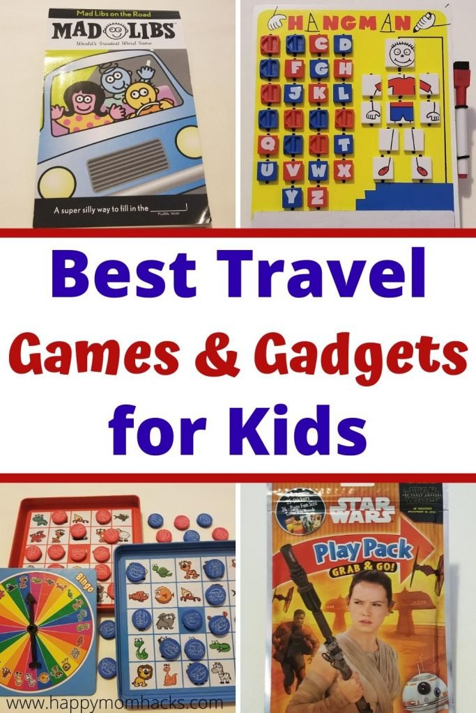 Best Travel Games & Gadgets for Kids on car rides & airplanes. Fun activities for kids to keep them entertained while you travel plus gadgets to make your trip easier. Be ready for your next family vacation with these unique travel hacks for kids. #familyvacation #familytravel #roadtrip #travelgames #travelgadgets #kids