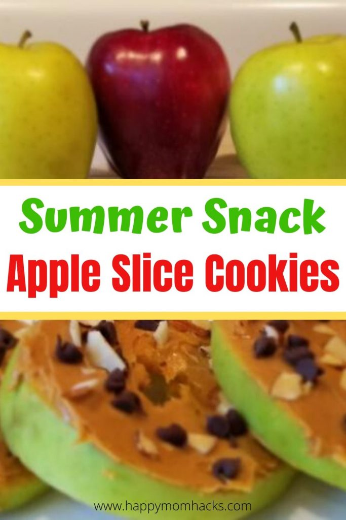 Easy Summer Snack for Kids - No Bake Apple Slice Cookies. A quick healthy snack they'll love with apples, peanut butter and chocolate chips. So good parents will want to eat them too! #healthysnack #snackforkids #easysnack #summer #appleslicecookies