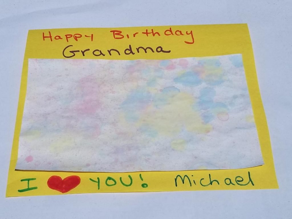 Birthday cards and gifts made with Bubble art from kids.