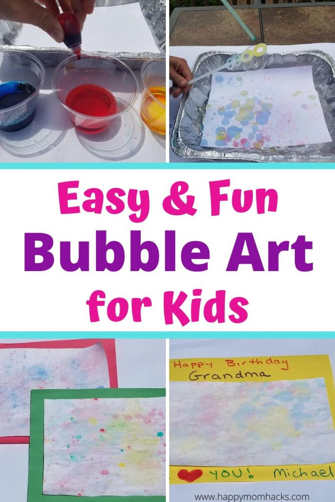 Easy Bubble Art for Kids at home and school. Simple kids craft they'll love creating with bubbles, paint or food dye. Make birthday cards from kids or mount them for pretty art in your home. Fun summer project they'll love. #kidsart #artforkids #bubbleart #paintingwithbubbles