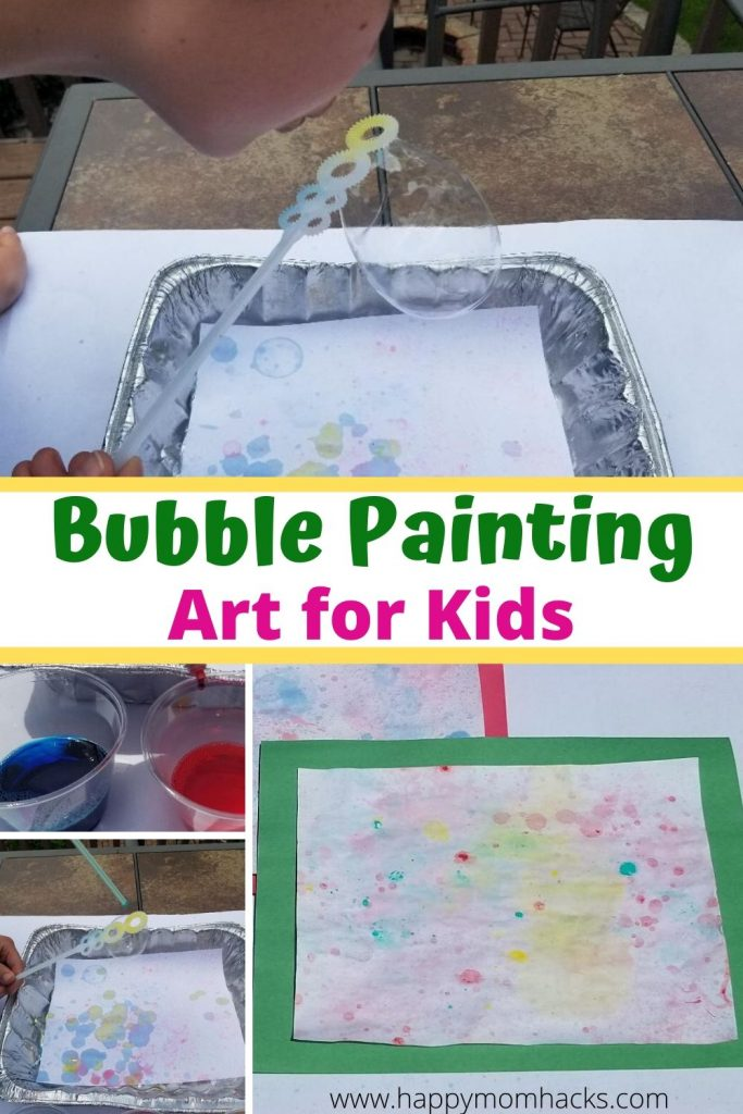 Easy Art Activity for Kids - Bubble Painting. Kids will love this fun kids craft with bubbles and food dye. Simple to make at home for an entertaining kids activity they'll want to do over and over again.  #artactivity #artforkids #kidscraft #paintingwithbubble #bubblepainting #kidsactivity