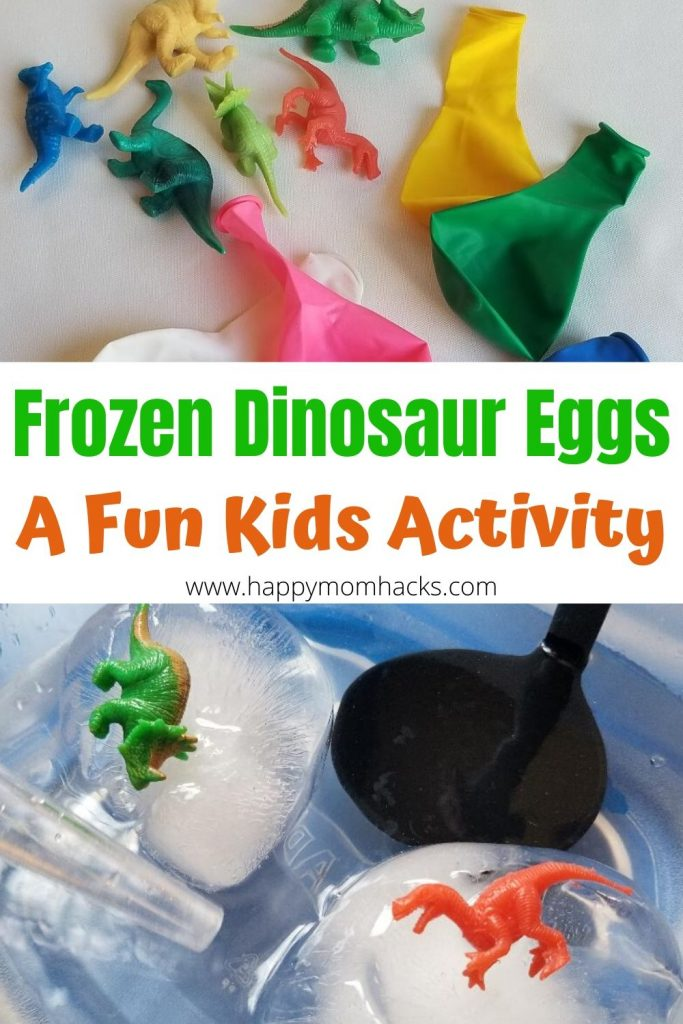 Frozen Dinosaur Eggs- A Fun Kids Activity & STEM project at home. Learn how to make these easy frozen eggs at home for the kids to play and explore. They'll love cooling off with these in the Summer. #dinosaurs #kidsactivity #stem #frozendinosaureggs