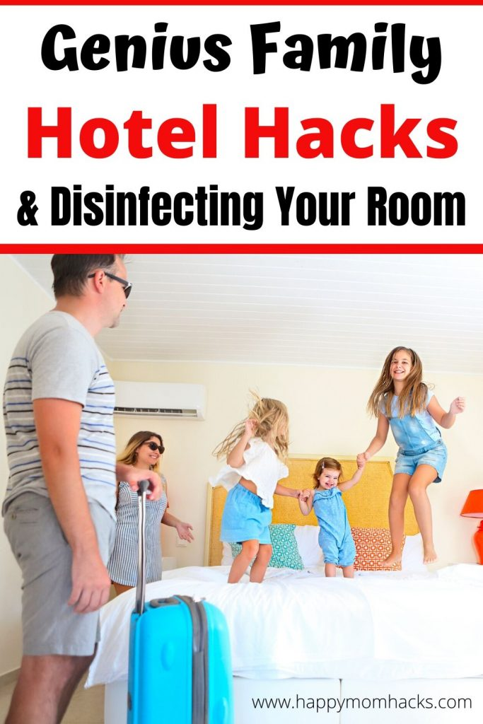 20 Genius Hotel Hacks & Tips for Family Vacation. Plus how to clean your hotel room. Cheap hotels tips for kids to make your visit stress free.  You won't believe you didn't think of these easy fixes before. #travelhacks #hotelhacks #hoteltips #traveltips #familyvacation #travelwithkids
