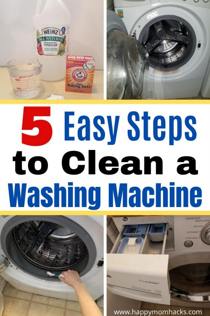 Genius Cleaning Tips for a cleaning Washing Machine. Get your Front Loading Washing Machine clean with 5 simple steps using bleach, vinegar, baking soda and water. You won't believe how easy it is to get rid of the smell in your Washing Machine! #cleanwashingmachine #cleaningtips #householdhacks #frontloadingwashingmachines