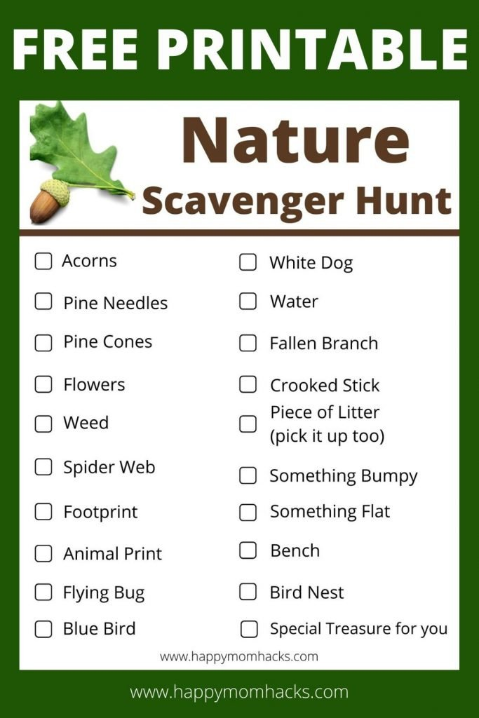 Outdoor Nature Scavenger Hunts for Kids. Free Printable for a fun hike or stroll through your local nature preserve. Get your kids excited about hiking and off the electronics with this fun kids activity. #nature #scavengerhunts #kidsactivity #outdooractvityforkids #outdoors #freeprintable