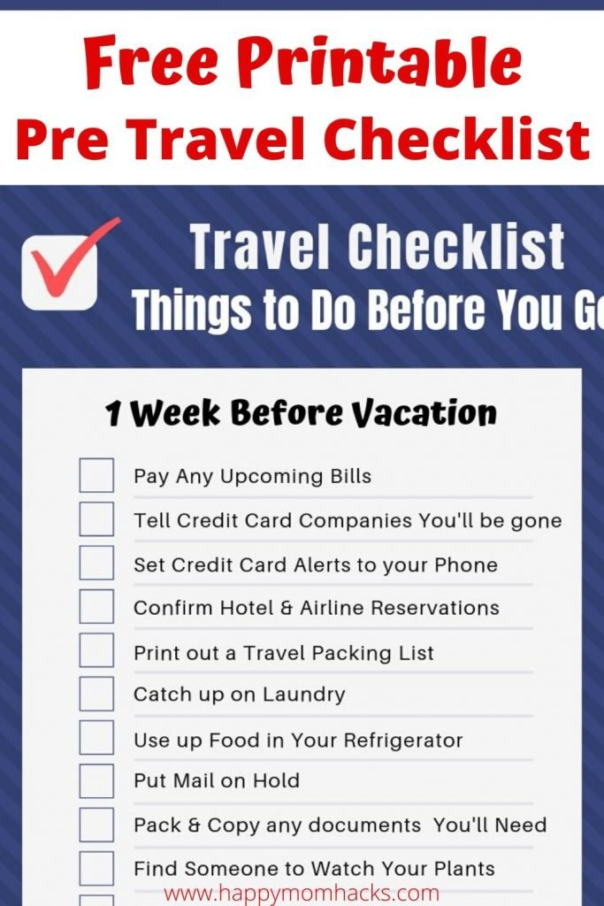 Free Printable Pre-Travel Checklist. Everything you need to do before going on Vacation. Reduce your stress before you go with this organized checklist you'll want to use before every family vacation. #travelchecklist #freeprintable #pretravelchecklist #vacation #familyvacation