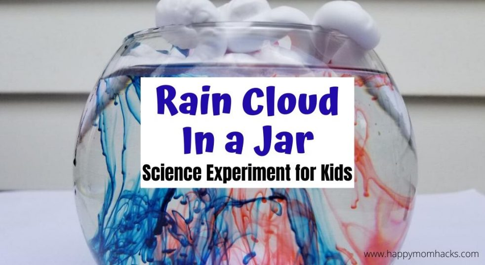 Cool Science Experiment for Kids at Home - Rain Cloud in a Jar. Teach kids about rain with shaving cream and food dye. The kids will be in awe of this super simple science experiment. #scienceathome #scienceexperiment #raincloudinajar #shavingcream