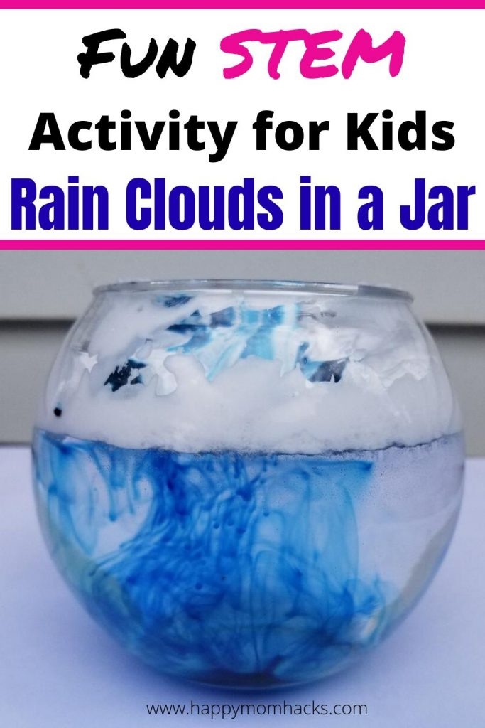 Rain Clouds in a Jar - Stem Activity for Kids. All you need is shaving cream and food dye to make this super easy Science experiment for kids at home. They'll be in awe watching how rain comes from clouds. #STEM #stemactivityforkids #scienceexperiment #raincloudsinajar