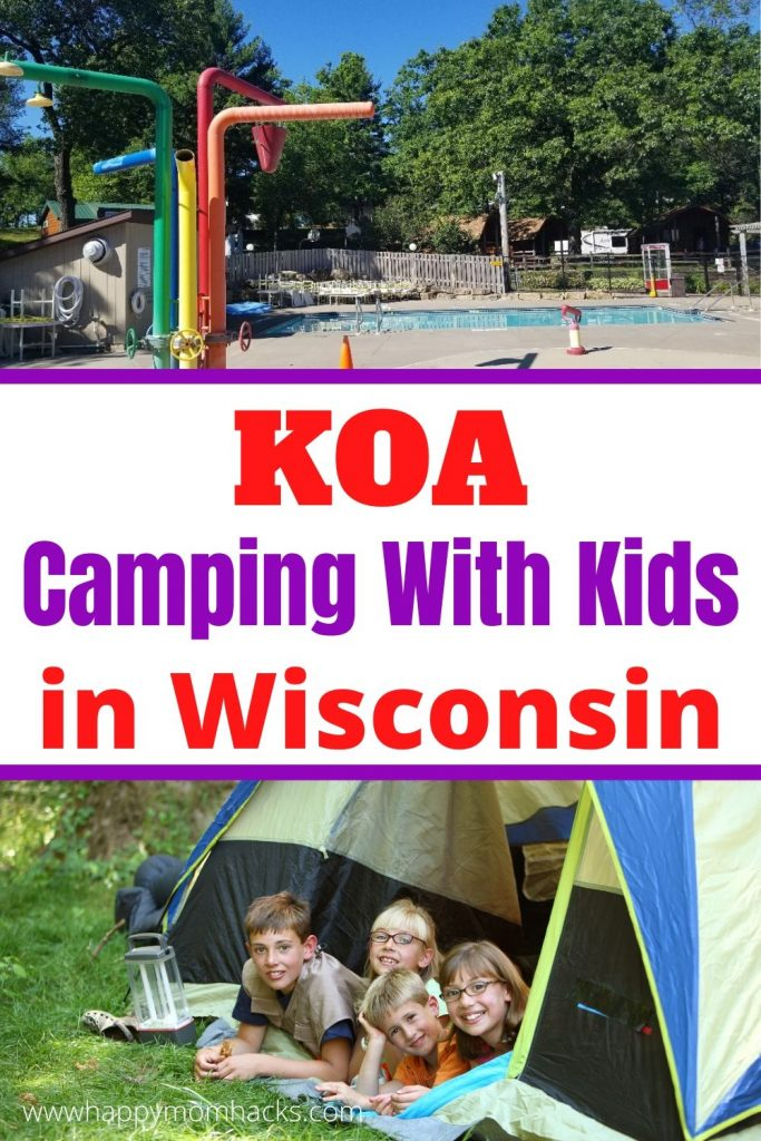 Camping in Wisconsin with Kids at KOA in Wisconsin Dells. A fun campground for tents, RV's and cabins. Find out about all the amenities & what to expect from these campgrounds located only 1 mile from Downtown Wisconsin Dells. #wisconsindells #camping #wisconsin #wisconsincampgrounds